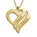 """Collana """"Due Cuori Per Sempre"""" con Diamanti in Oro 18K"""