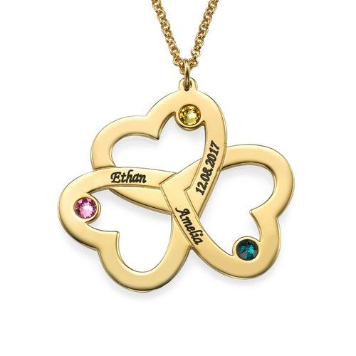 Collana Personalizzata Con Triplo Cuore in Oro Placcato 18K - 1