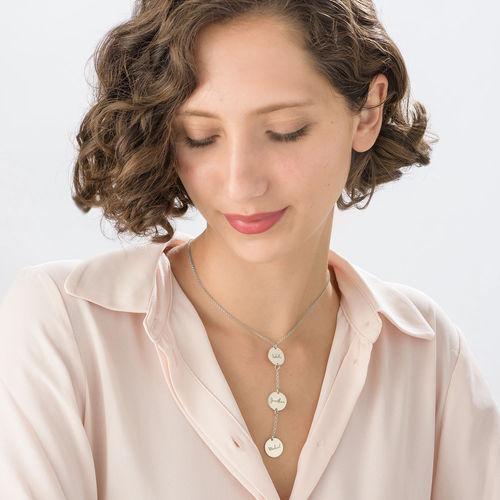 Collana Personalizzata a Forma di Y con Dischi in Argento - 2