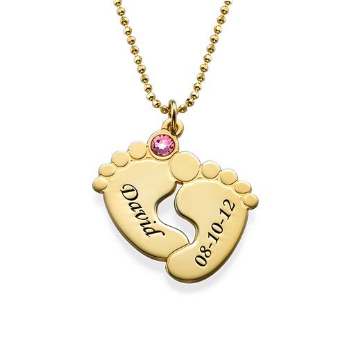 Collana Piedi di Bambino Personalizzata Placcata in Oro