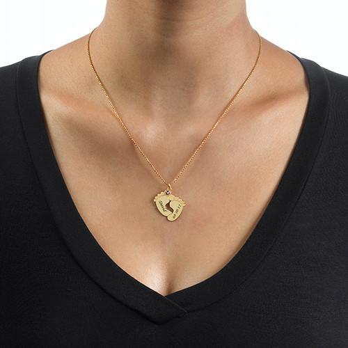 Collana Piedi di Bambino Personalizzata Placcata in Oro - 2