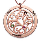 Collana con Albero di Famiglia e Pietre Portafortuna placcata in Oro Rosa