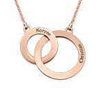 Collana con Cerchi Eternity ed Incisioni Placcato in Oro Rosa