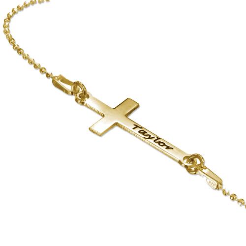 Collana con Croce laterale incisa in Puro Argento placcato Oro 18k