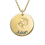 Collana con Nome e Impronte Placcata in Oro