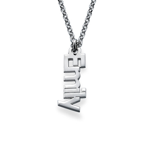 Collana con Nome in Verticale in Argento Sterling - 1