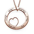 Collana con Pendente a Cerchio Amore per la Famiglia con Placcatura Oro Rosa