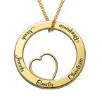 Collana con Pendente a Cerchio Amore per la Famiglia con Placcatura Oro