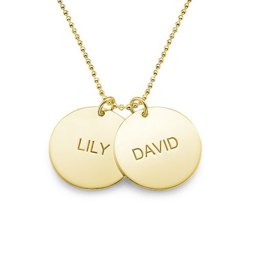 Collana con coppia di dischi incisi con nome in argento placcato oro 18k