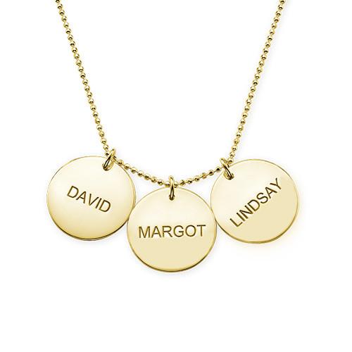 Collana con coppia di dischi incisi con nome in argento placcato oro 18k - 3