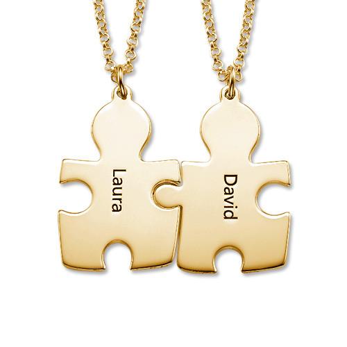 Collana con il puzzle dell' amore in argento ricoperto da 18K d' oro - 1