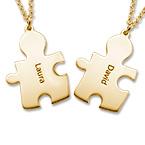 Collana con il puzzle dell' amore in argento ricoperto da 18K d' oro