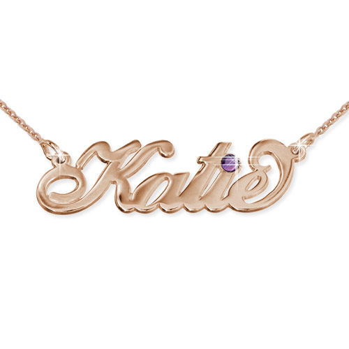 Collana con nome in Argento placcata Oro Rosa con Swarovski