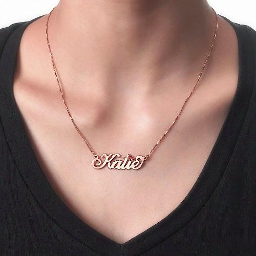 Collana con nome in Argento placcata Oro Rosa con Swarovski - 1