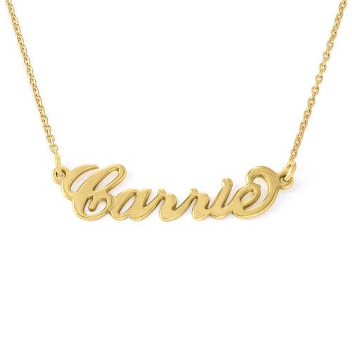 Collana con nome piccolo stile 'Carrie' in argento placcato oro 18k