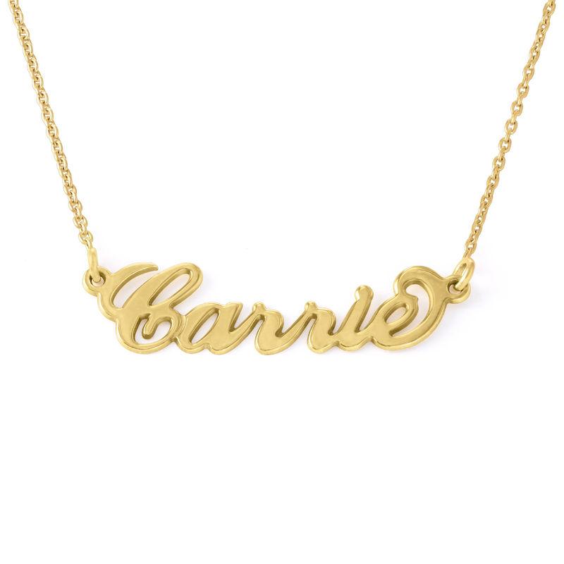 """Collana con nome piccolo stile """"Carrie"""" in argento placcato oro 18k"""