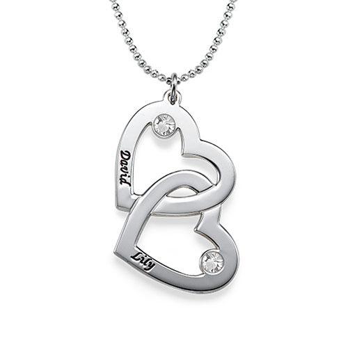 Collana con coppia di cuori in argento e pietre portafortuna - 1