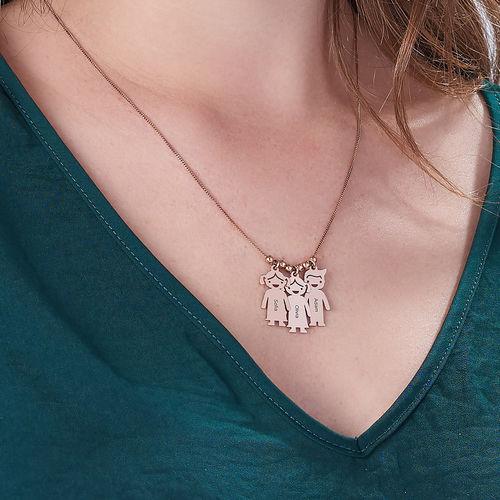 Collana della Mamma con pendente Bimbi Incisi - In Oro Placcato Rosa - 5