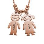 Collana della Mamma con pendente Bambini Incisi - In Oro Placcato Rosa