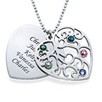 Collana della Nonna con albero di famiglia e pietre portafortuna