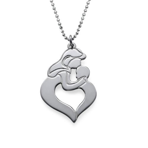 Collana madre e figlio incise in argento - 4