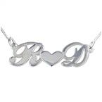 Collana personalizzabile con cuore di coppia in argento 925