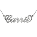 """Collana con nome stile """"Carrie"""" in oro 14k bianco"""