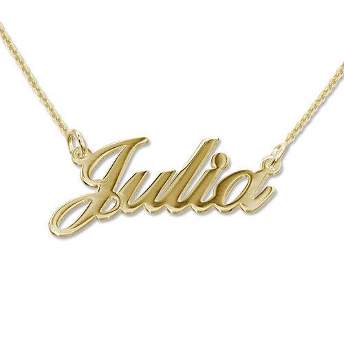 Collana personalizzata con nome piccolo carattere classico in argento placcato oro 18K