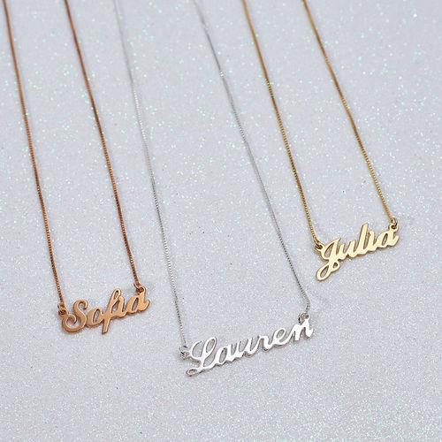 Collana personalizzata con nome piccolo carattere classico in argento placcato oro 18K - 1