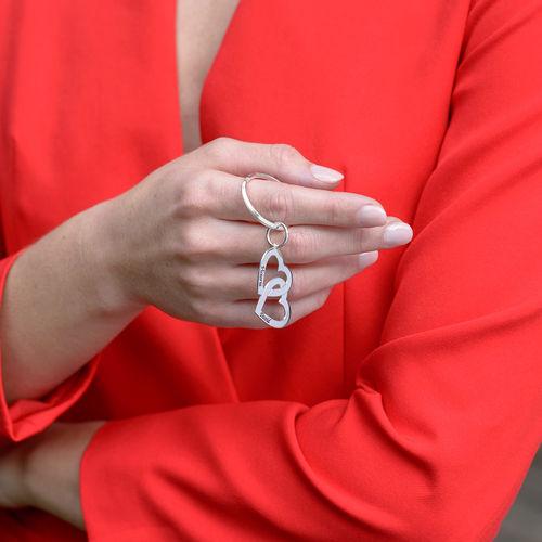 Portachiavi in argento con Cuori intersecati - 1