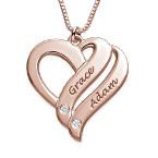 """Collana """"Due Cuori Per Sempre"""" con Diamanti in Oro Rosa 18K"""