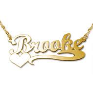 Collana personalizzabile in puro oro 14K con cuore di lato