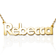 Collana con nome personalizzato, carattere grassetto in oro 14k