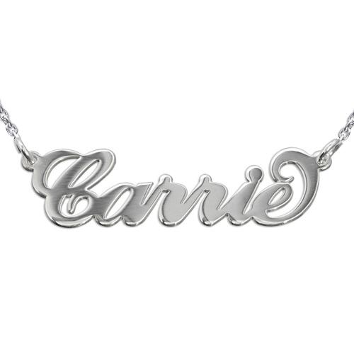 """Collana con nome stile """"Carrie"""" in argento 925 e catenina ad anelli"""