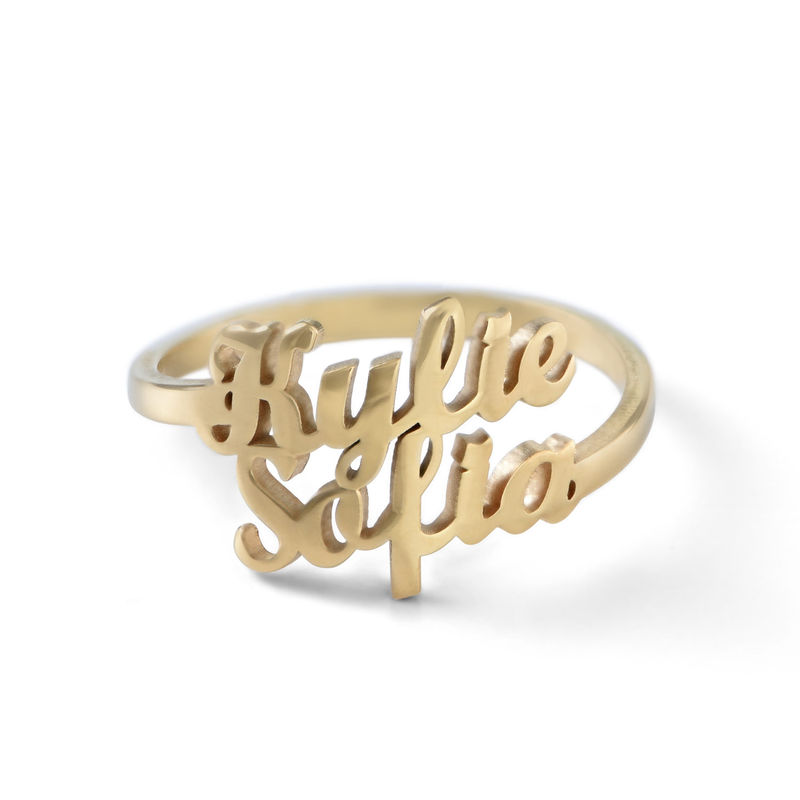 Anello Personalizzato con Due Nomi con Placcatura in Oro product photo