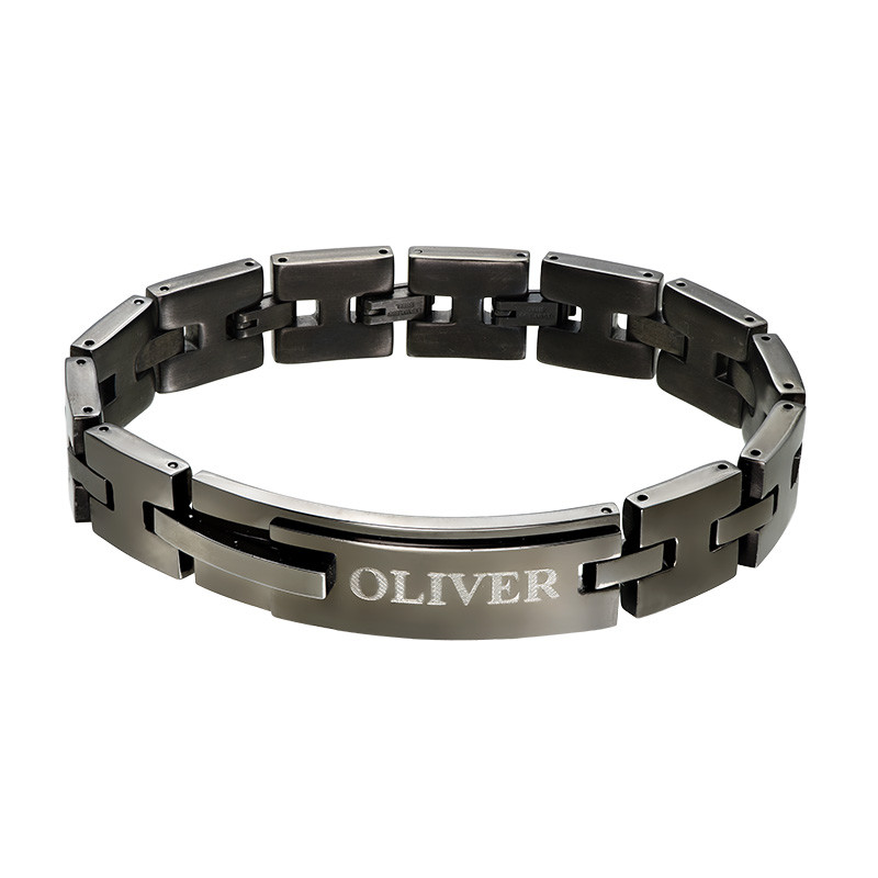 Bracciale Nero in Acciaio Inossidabile con incisioni product photo
