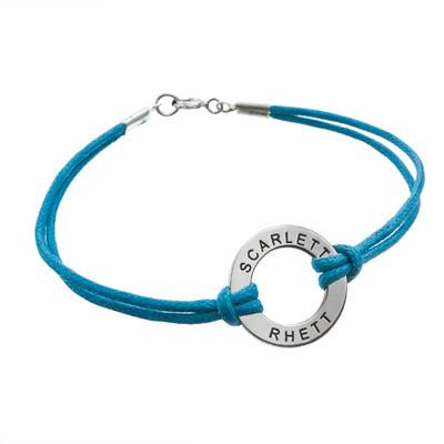 Braccialletto con cordino in cuoio e pendente cerchio in Argento product photo
