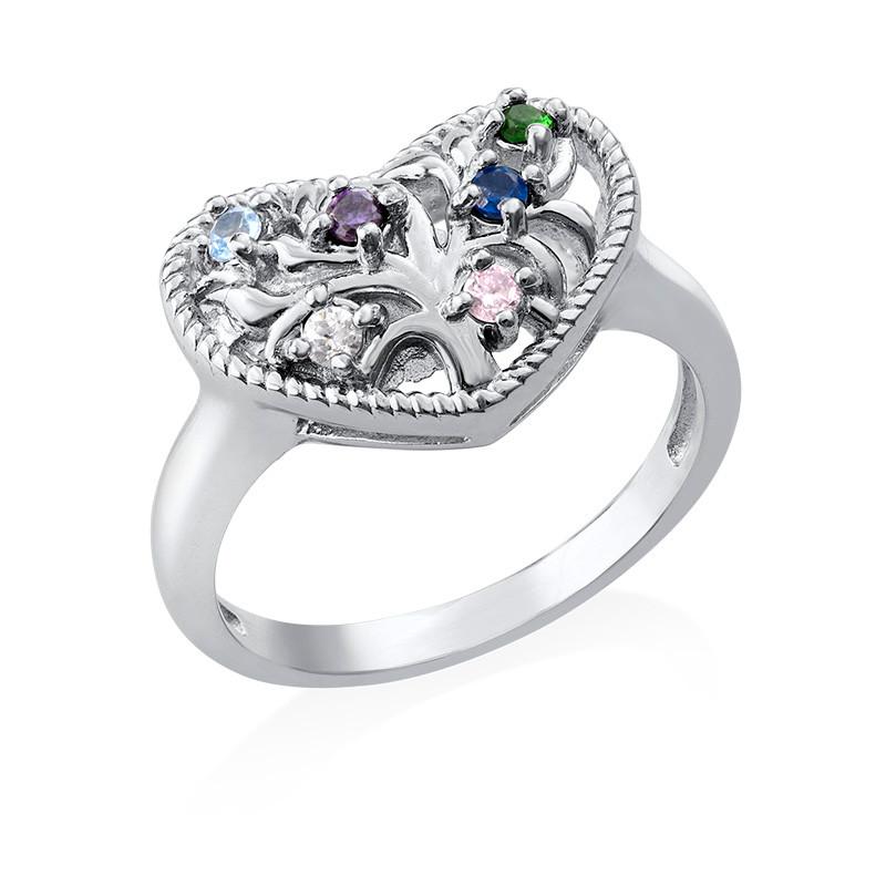 Anello a forma di cuore con pietre product photo