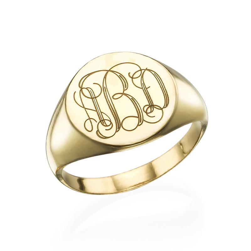 Anello Sigillo in Oro Placcato con Monogramma Inciso product photo