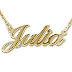Collana con nome personalizzato carattere classico in argento placcato oro 18k