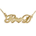 Collana personalizzata in argento placcato oro, Cuore di Coppia