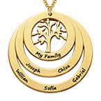 Collana Famiglia con Cerchi e Albero della Vita Placcata Oro