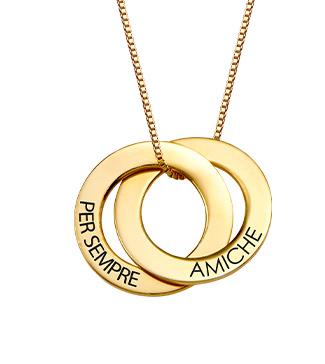 Collana alla Russa con doppio anello placcata in oro