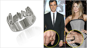 Justin Theroux & Jennifer Aniston con Anello in argento personalizzato con incisione ritagliata