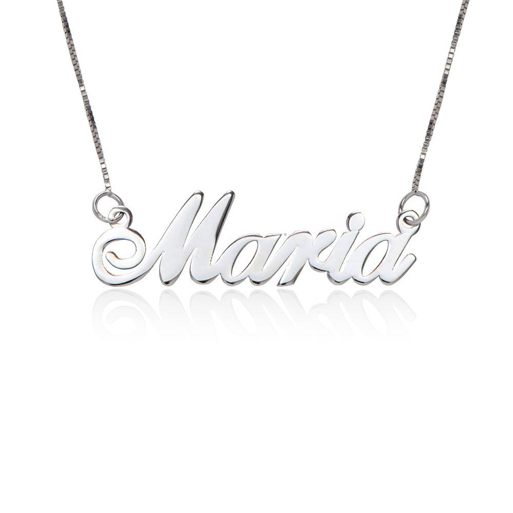 Collar con Nombre Fuente Clásica en Oro Blanco 14k