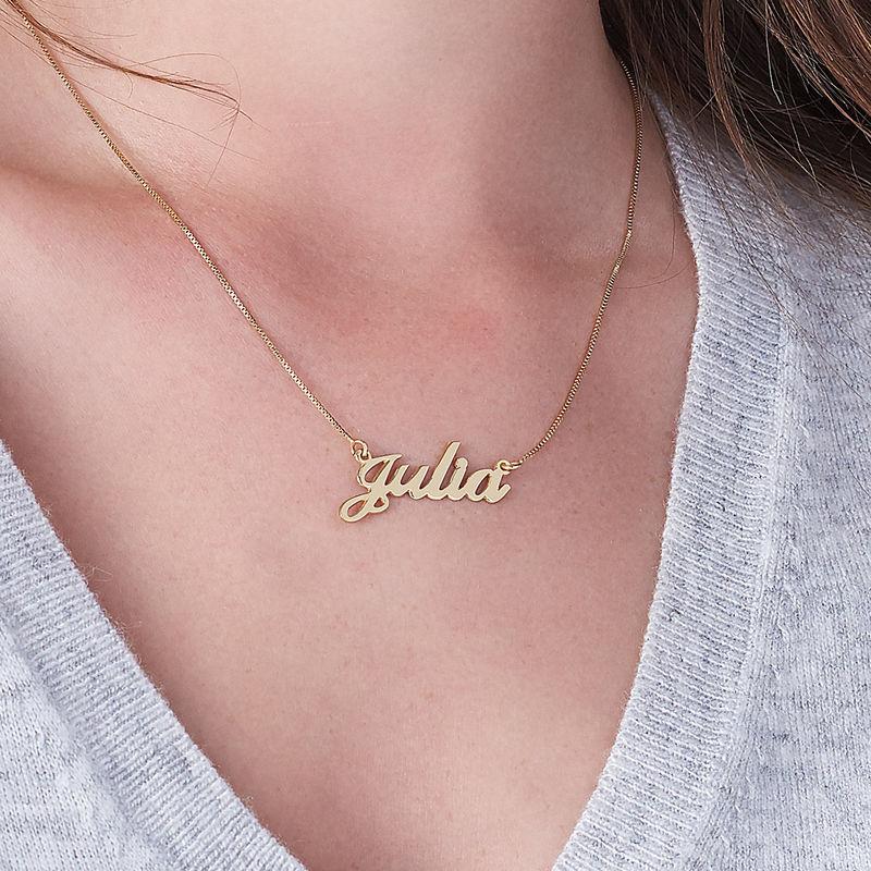 Collar con nombre Fuente Clásica, Plata chapada en oro 18k - 3