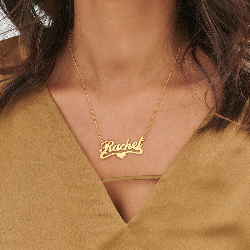 Collar con Nombre y Corazón Centrado Chapado en Oro 18k - 1