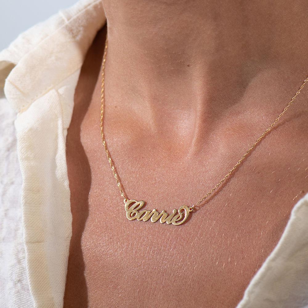 "Collar con nombre estilo ""Carrie"" personalizado, oro 14k - 3"