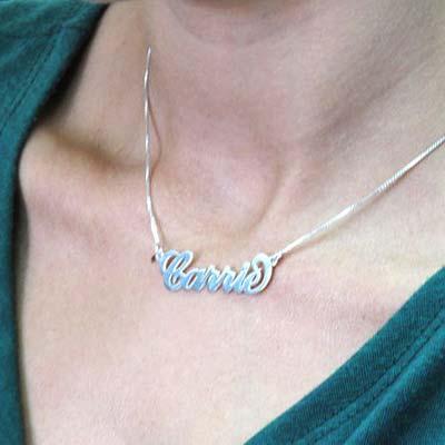 """Collar con nombre estilo """"Carrie"""", plata de ley - 2"""