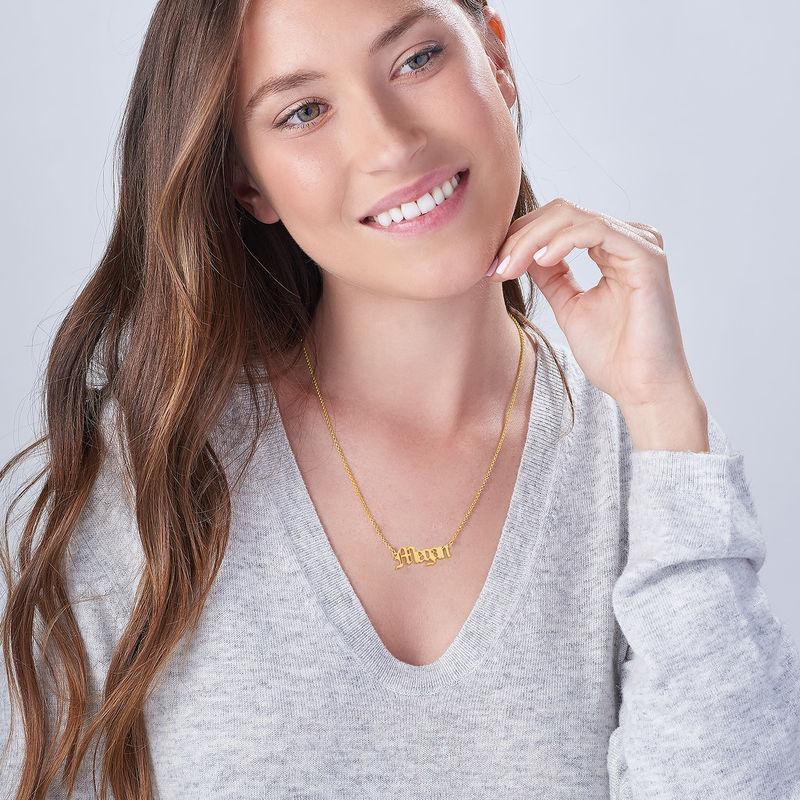 Collar con Nombre Antiguo chapado en oro de 18k - 3